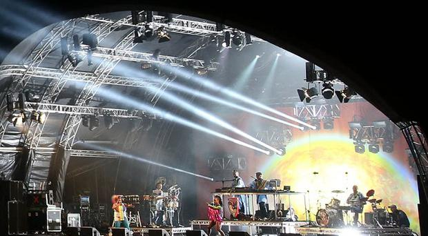 Basement Jaxx perform at the opening night of the Belsonic festival at Custom House Square in Belfast