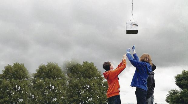 The students from Armagh launch their weather probe