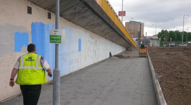 The Bridge End Flyover where the mural was