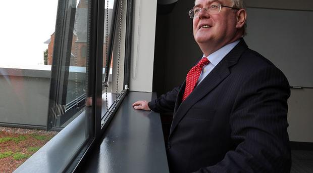 Eamon Gilmore, at the Skainos Centre, Newtownards Road, Belfast