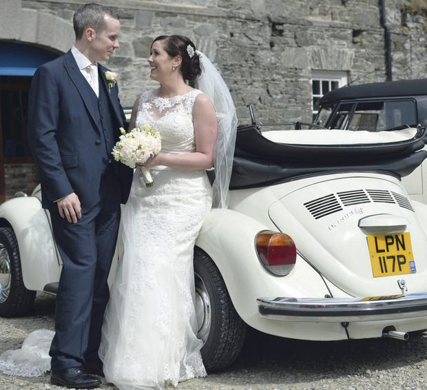 Claire Porter and Stuart Mason at their wedding reception at Ballydugan Mill in Downpatrick