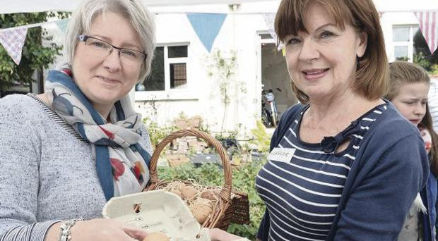 Emma Gibson and Lorraine Tennant pictured at the food swap event at Belmont Park in Belfast