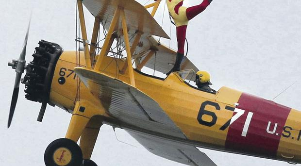 Wing walker on a Boeing Stearman at the Portrush International Airshow