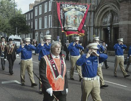 Royal Black Preceptory Parade passes St Patrick's Church on Donegall Street