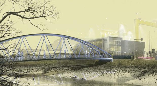 Artist impression of the bridge planned for Victoria Park as part of the Connswater Community Greenway