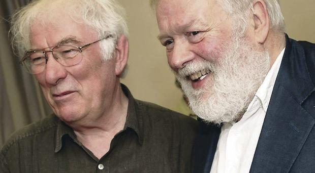 The late Seamus Heaney with fellow poet, Michael Longley, who led tributes to him at the Lyric Theatre