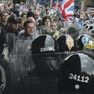 Loyalists confront police during protests in Belfast's Royal Avenue last month colm lenaghan/pacemaker