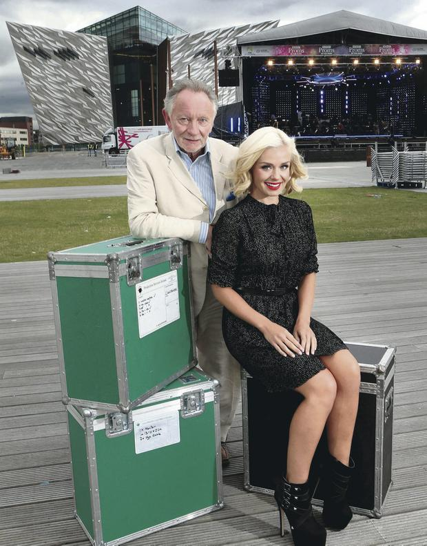 Katherine Jenkins and Phil Coulter at Titanic slipway last night