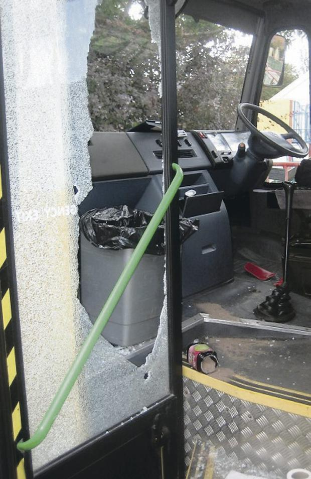 One of the buses damaged during the rampage at Knockevin School in Downpatrick