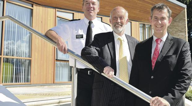 Health Minister Edwin Poots, Justice Minister David Ford and PSNI Chief Constable, Matt Baggott open The Rowan' Northern Ireland's only regional Sexual Assault Referral Centre