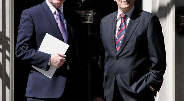 Northern Ireland First Minister Peter Robinson, right, and Deputy First Minister Martin McGuinness are visiting the US