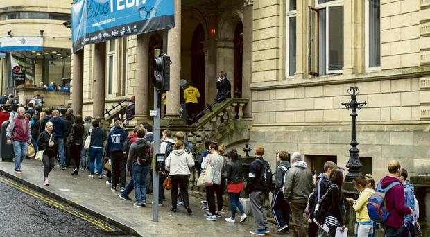The line of jobseekers at an employment fair in Derry