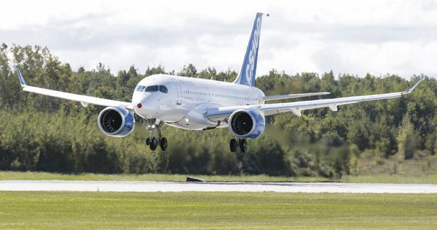 Bombardier's new CSeries aircraft takes off on its maiden flight