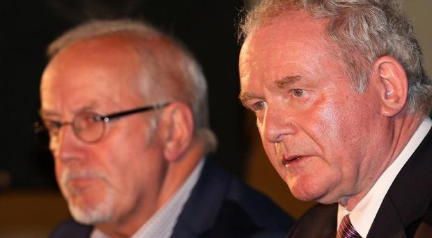 Martin McGuinness, right, and Colin Parry during the Tim Parry Johnathan Ball Foundation for Peace event at the Peace Centre in Warrington