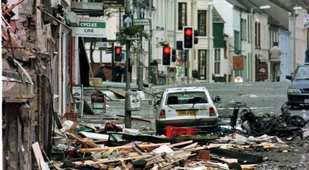 The destruction caused by the bomb explosion in Market Street, Omagh, in 1998