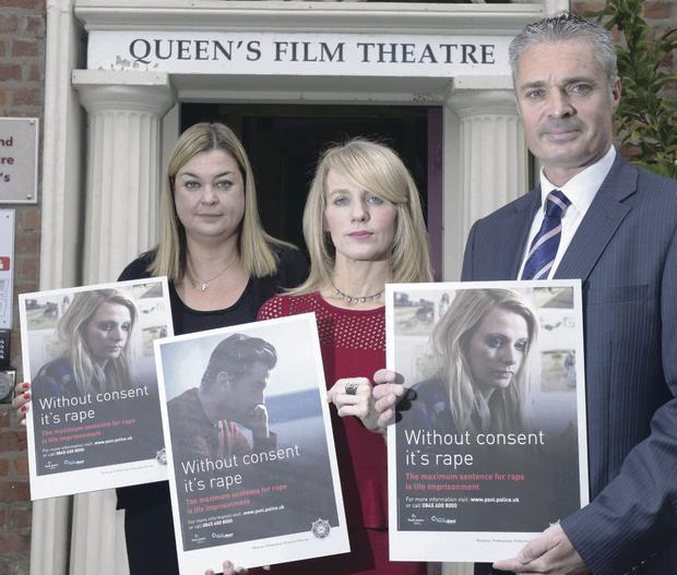 Paula Jack of the Youth Justice Agency, Debbie Watters of the NI Policing Board and Detective Superintendent Brian Hanna at the launch of the 'Without consent it's rape' video