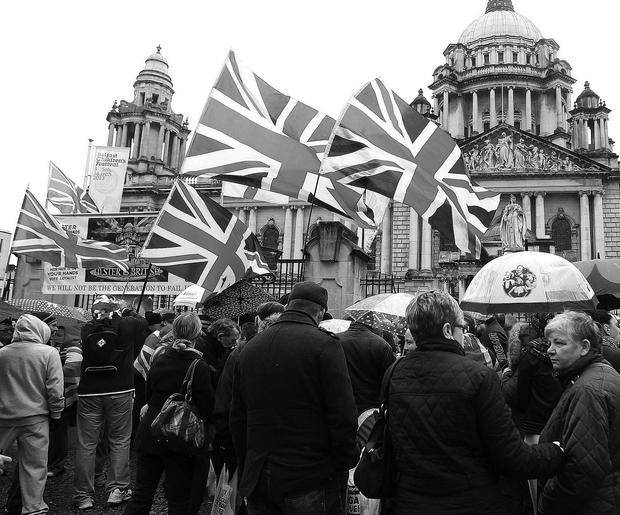 Loyalists have staged a number of protests outside Belfast City Hall this year