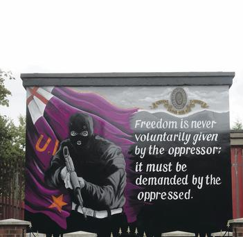 The new paramilitary mural in east Belfast showing a UVF gunman