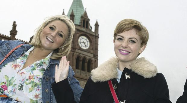 Hollyoaks stars Jazmine Franks and Lucy Dixon enjoy the sights of Derry