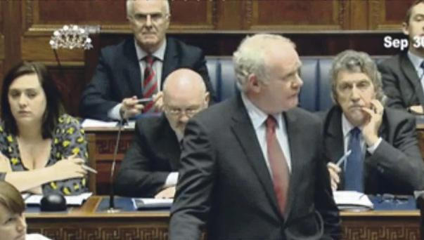 Martin McGuinness during yesterday's session
