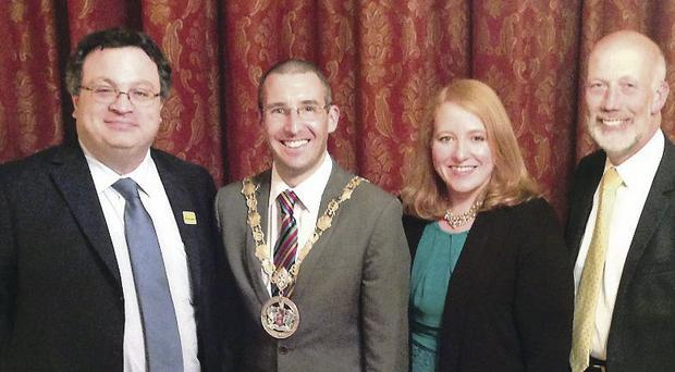 North Down mayor Councillor Andrew Muir with Alliance colleagues Stephen Farry MLA, Naomi Long MP and party leader David Ford