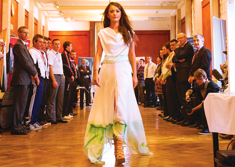 Catwalk: A student from Belfast Metropolitan College models in the fashion show at Parliament Buildings