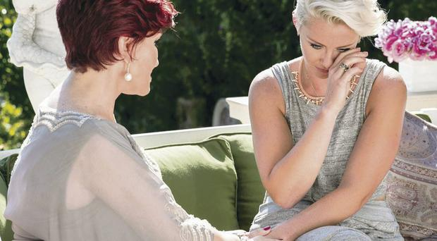 Sharon Osbourne comforts Andrea Magee after bum note