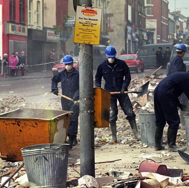 The aftermath of the Shankill Road bomb.
