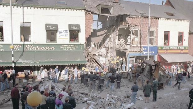 The scene of devastation after the Shankill Road bomb