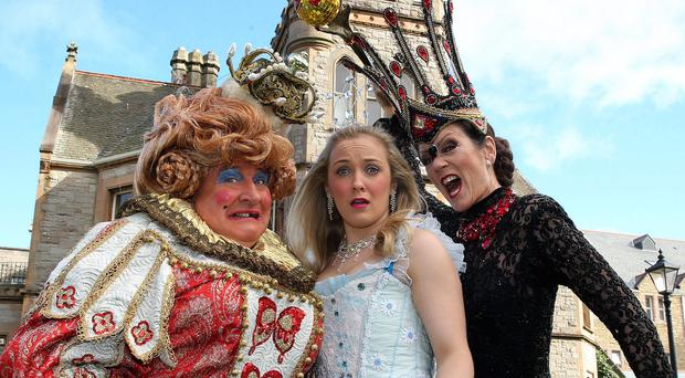 Panto stars May McFettridge (Queen May), Rhiannon Chesterman (Sleeping Beauty) and Lorraine Chase (Carabosse, the Wicked Fairy)