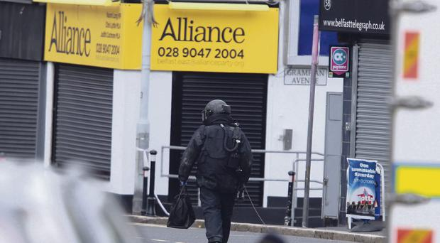 The security alert outside the Alliance office of MP Naomi Long on the Upper Newtownards Road in Belfast