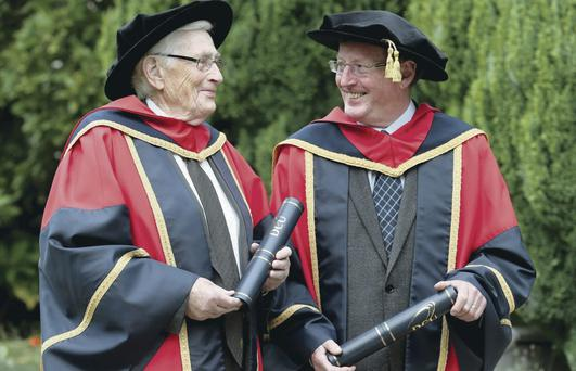 Lord David Trimble (right) and Seamus Mallon at Dublin City University