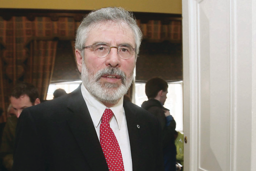 Sinn Fein Leader Gerry Adams at the launch of the Sinn Fein Budget for 2014 at the Royal College of Physicians, Dublin.