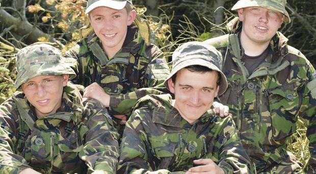 Taking a break from exercise are East Belfast Cadets; Cadet Lance Corporal Lewis McCormick; Cadet Gareth Crosby; Cadet Corporal David Gillespie and Cadet Owen Barr