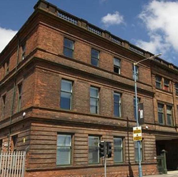 The offices that used to house the headquarters and design studios of Harland and Wolff shipbuilders in Belfast