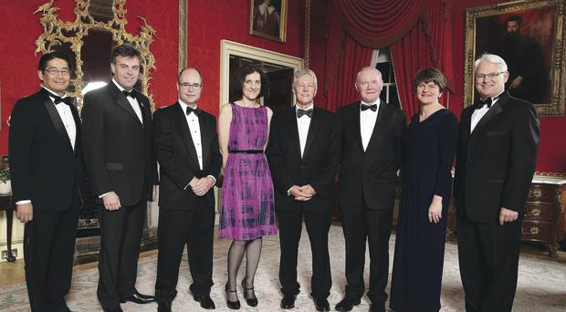 Japanese minister Naoki Ito; Alastair Hamilton, Chief Executive of Invest NI; US Consul General Gregory Burton; Secretary of State Theresa Villiers; First Minister Peter Robinson; Deputy First Minister Martin McGuinness; Enterprise Minister Arlene Foster and Canadian High Commissioner Gordon Campbell at last night's gala dinner in Hillsborough to launch the conference