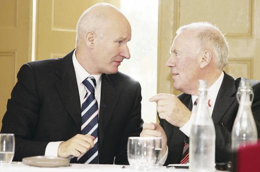 Progressive Unionist Party leader Billy Hutchinson (left) and Cllr Dr John Kyle at the PUP's annual conference