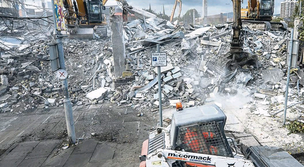 The old Co-op building and former Interpoint building being knocked down in Belfast