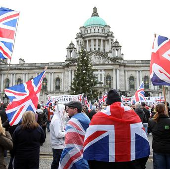 Loyalist protesters converge on Belfast City Hall last year