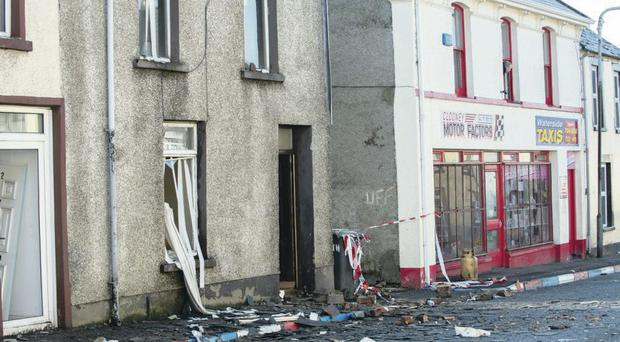 The scene in Bond Street in the Waterside where a gas explosion seriously injured a man