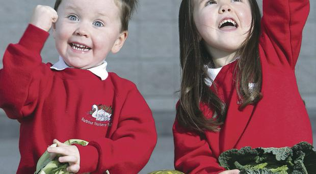 Daniel McLean (3) and Sophie Simpson (4) from Barbour Nursery School in Lisburn at the Action Cancer Health Action Awards after picking up their school's health award