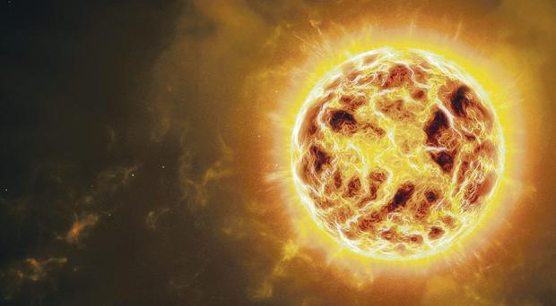 A graphic impression of a star becoming a supernova