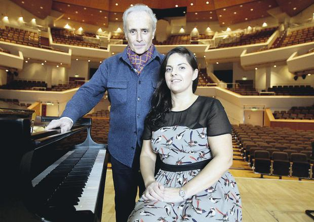 Tenor Jose Carreras with Irish soprano Celine Byrne at Belfast's Waterfront Hall last night