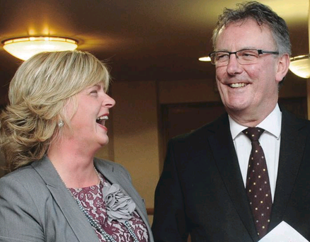 Ulster Unionist leader Mike Nesbitt chats with Armagh councillor Joy Rollston