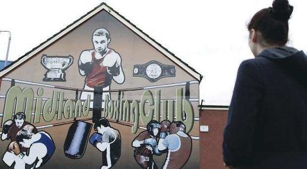 The mural of Carl Frampton on the wall of Midland Boxing Club in Tigers Bay, Belfast, where he trains