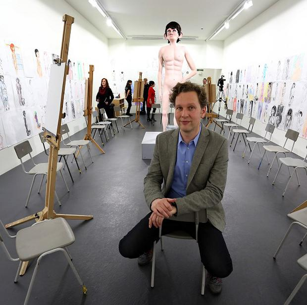 Turner Prize nominee David Shrigley with his piece entitled 'Life Model'