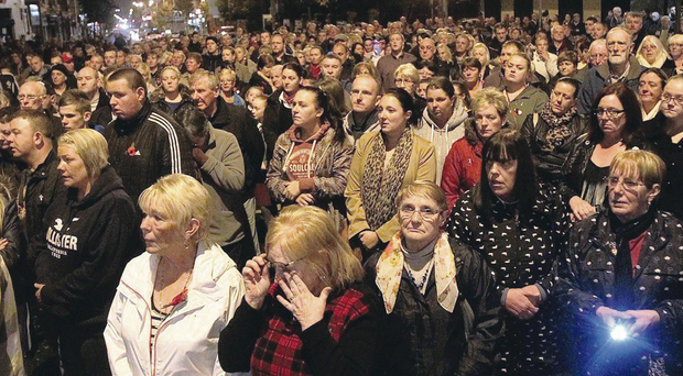 Some of the 1,000 people who attended the vigil on the Shankill Road