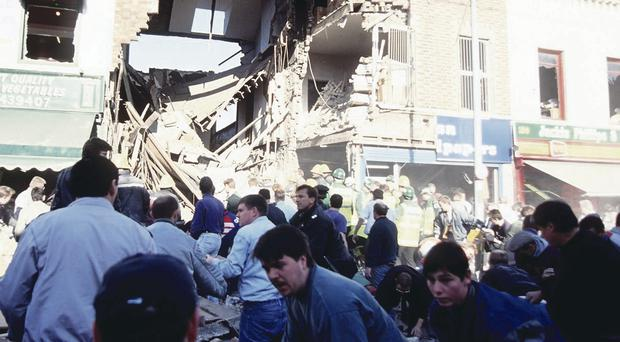 The aftermath of the 1993 Shankill bomb at Frizzell's fish shop
