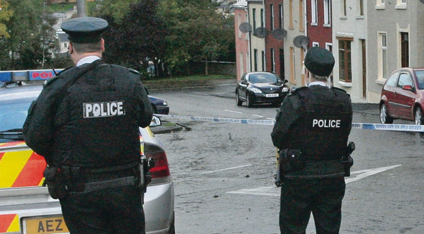 Officers at Charlotte Street after the failed dissident terrorist attack