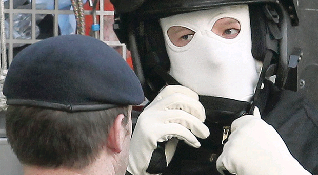 Bomb disposal officers at the Public Prosecution Service offices in Derry